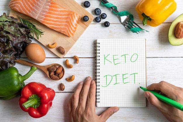 Cibo sano con il taccuino, dieta chetogenica, vista dall'alto