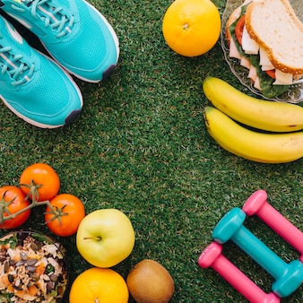 Cibo sano e concetto di allenamento