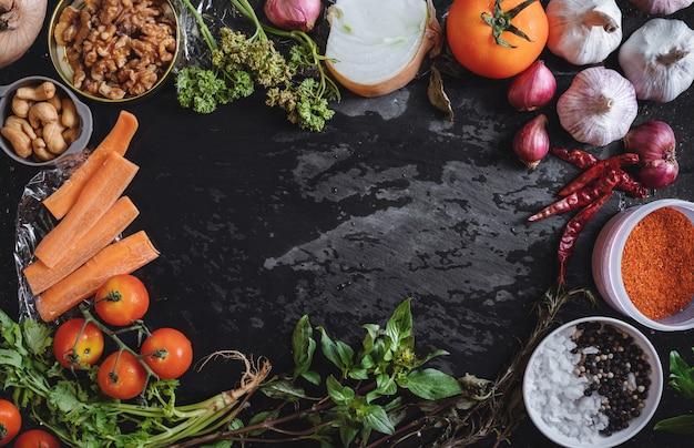Cibo sano e sfondo di ingredienti alimentari