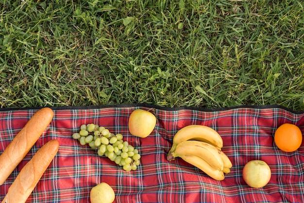 Cibo su una coperta da picnic