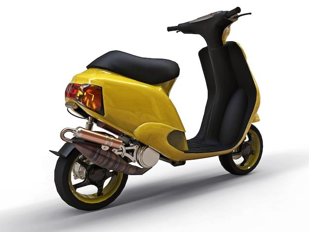 Ciclomotore giallo urbano moderno su una priorità bassa bianca