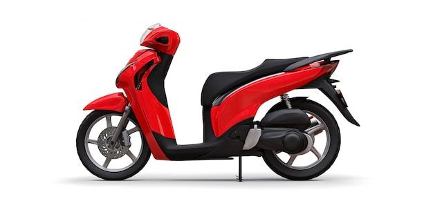 Ciclomotore rosso urbano moderno su una priorità bassa bianca