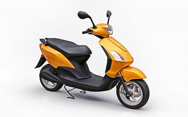Ciclomotore urbano moderno arancione su sfondo bianco