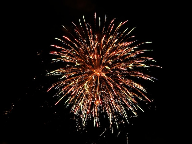 Cielo con fuochi d'artificio di notte