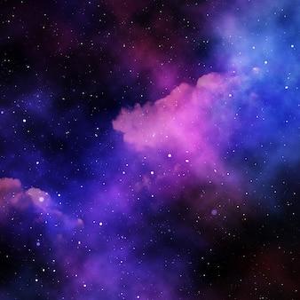 Cielo dello spazio astratto 3d con stelle e nebulosa