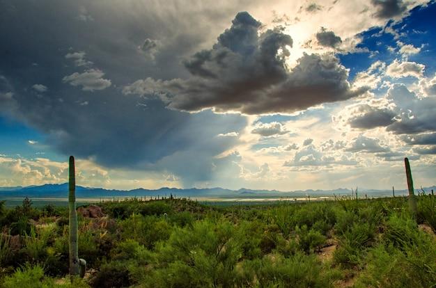 Cielo drammatico con nuvole di tempesta attraverso il deserto sud-ovest dell'arizona