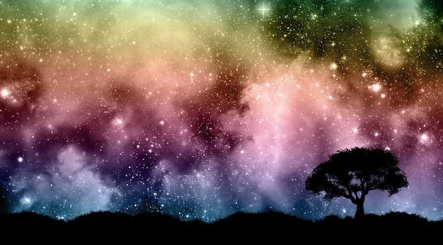 Cielo notturno di starfield con sagome di albero