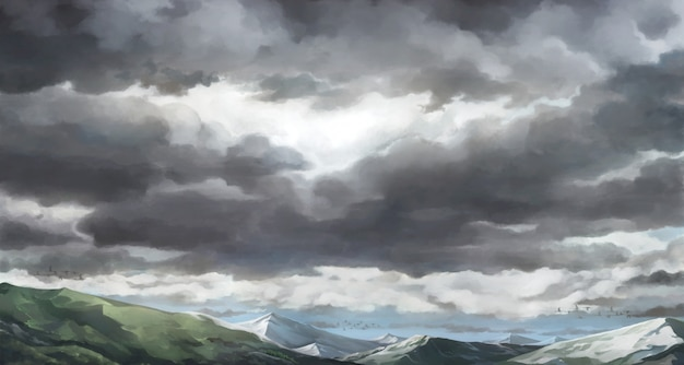 Cielo nuvoloso, illustrazione del cielo nuvoloso.