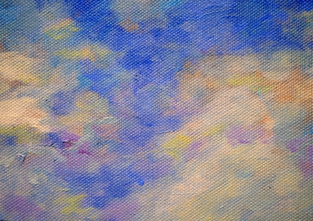 Cielo variopinto della pittura a olio con il fondo e la struttura dell'estratto della nuvola.