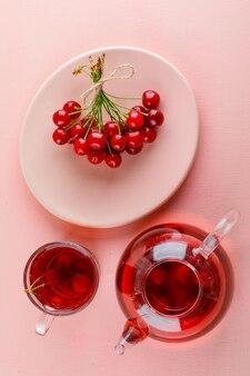 Ciliegie in un piatto con vista dall'alto di tè su un tavolo rosa