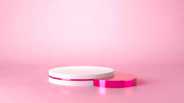 Cilindro bianco vetrina podio a sfondo rosa.