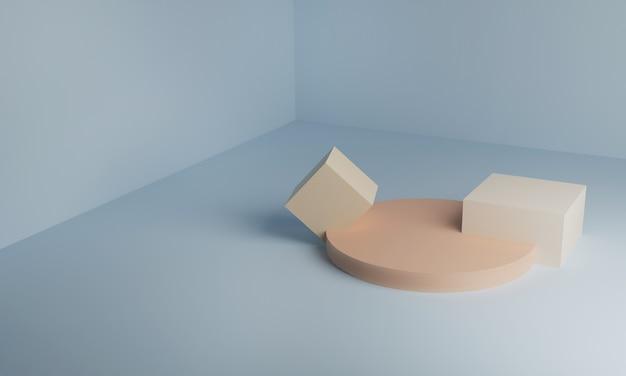 Cilindro del podio 3d, rettangolo e quadrato nell'angolo geometrico.
