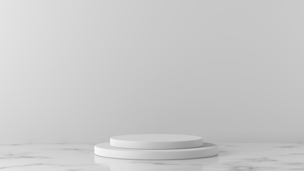 Cilindro minimal vetrina podio in marmo bianco sullo sfondo.