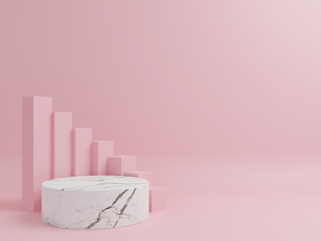 Cilindro podio in marmo con quadrato rosa sullo sfondo.