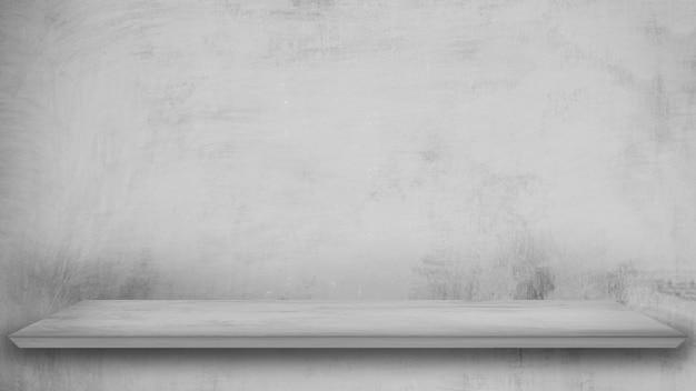 Cima per pavimento concreta del modello quadrato grigio vuoto isolata su struttura grigia della pittura.