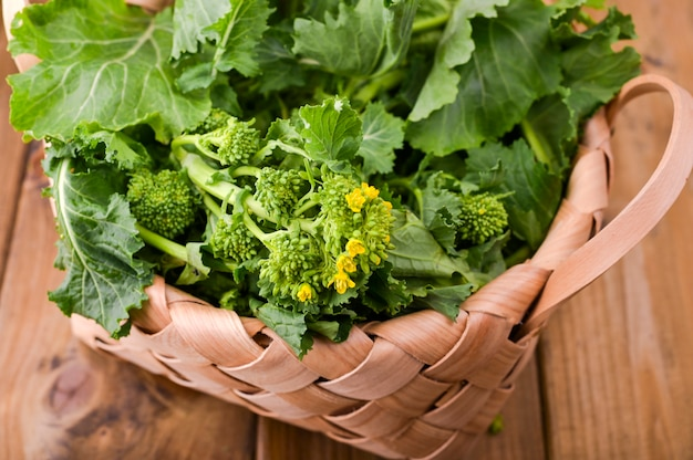 Cime di rape organiche crude pronte da mangiare su un fondo di legno marrone. cestino con verdure verdi fresche. cibo italiano.