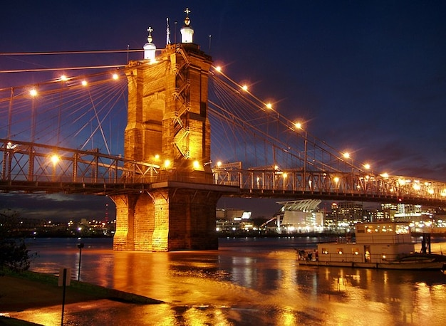 Cincinnati ohio fiume ponte di sospensione