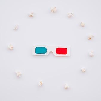Cinema 3d occhiali con popcorn