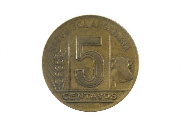 Cinque centavos 1945, moneta da olf dell'argentina