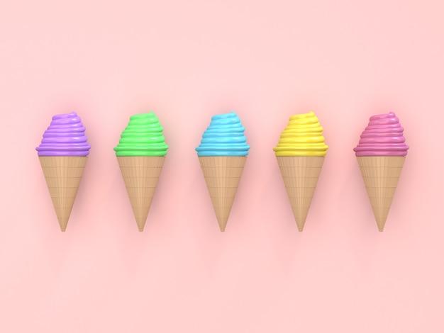 Cinque colori cono gelato astratto stile cartoon colorato sfondo rosa 3d rendering stile cartoon