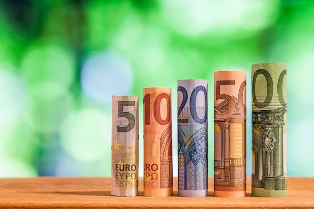 Cinque, dieci, venti, cinquanta e cento euro banconote arrotolate bollette su sfondo sfocato verde bokeh