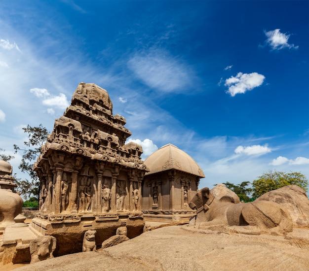 Cinque ratha. mahabalipuram, tamil nadu, india del sud