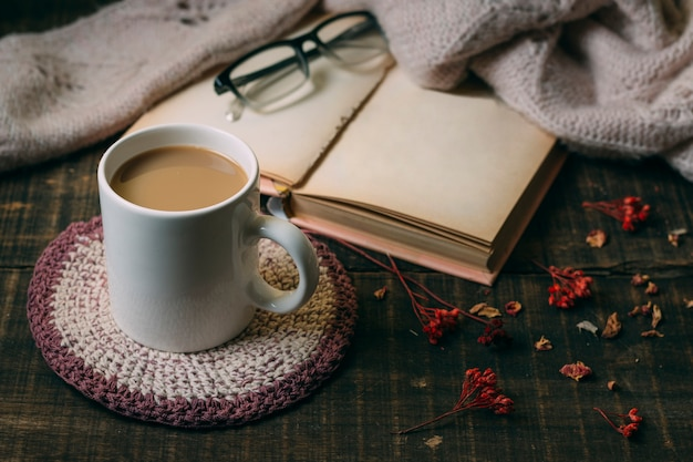 Cioccolata calda del primo piano con un libro