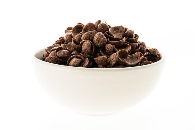 Cioccolato di cereali in una ciotola bianca