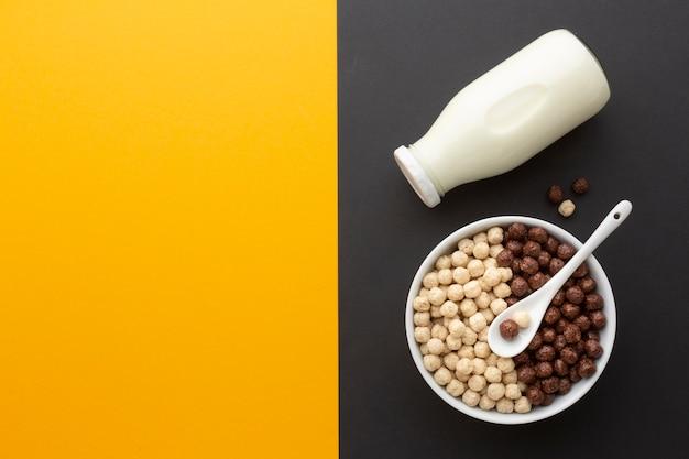 Ciotola e latte di vista superiore con lo spazio della copia