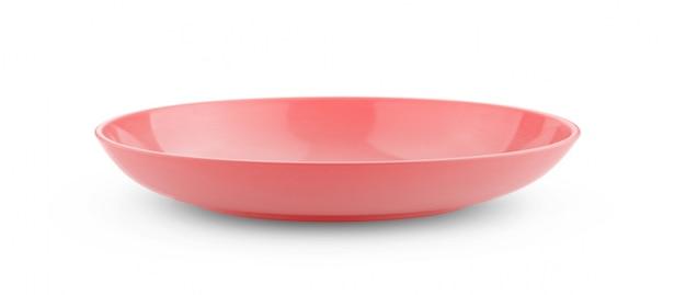 Ciotola rossa vuota su fondo bianco