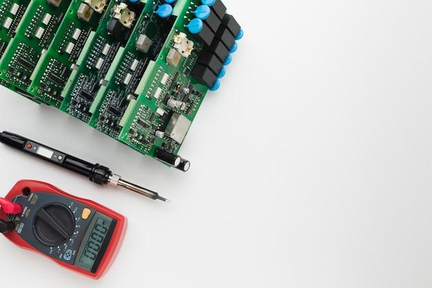 Circuiti stampati vista dall'alto con spazio di copia