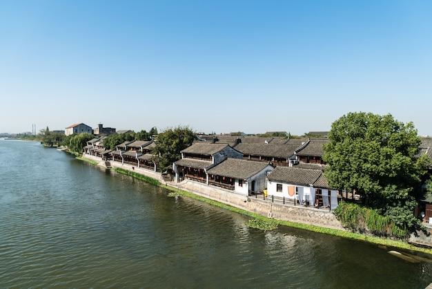 Città antica di tangxi sul fiume del canale, hangzhou, cina