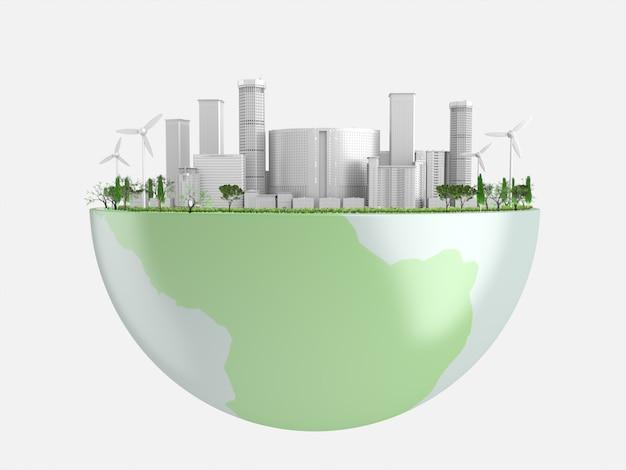 Città bianca e alberi verdi su globe. 3d rendering