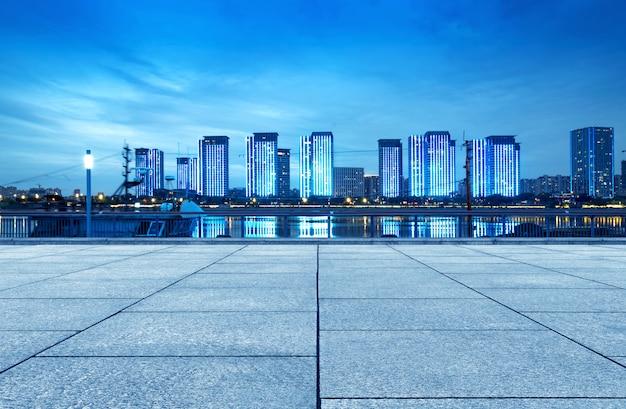 Città di fuzhou, cina, vista notturna