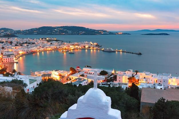 Città di mykonos, chora sull'isola di mykonos, in grecia