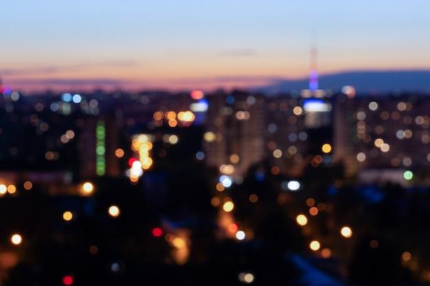 Città di notte di bokeh