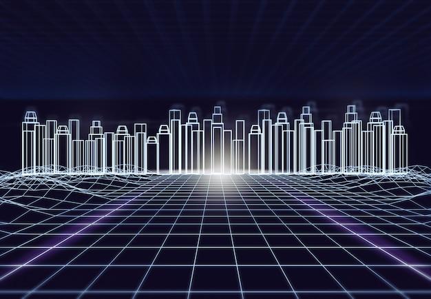 Città futuristica astratta con la struttura del cavo in tonalità blu. tecnologia digitale per l'architettura del futuro