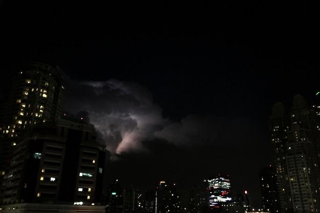City night sky stormy lightning