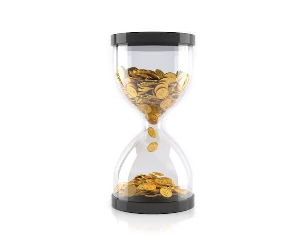 Clessidra con monete d'oro, il tempo è il concetto di denaro.