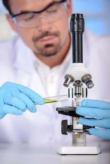 Clinico serio che studia elemento chimico in laboratorio.