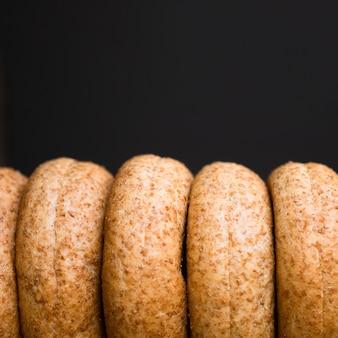 Close-up assortimento di bagel