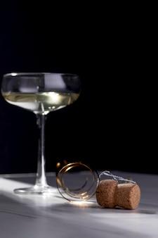 Close-up bottiglia di champagne sughero