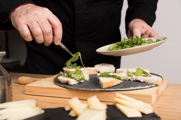Close-up chef di cucina