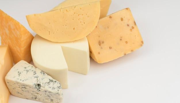 Close-up deliziosa varietà di formaggio