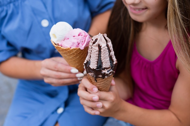 Close-up di coni gelato