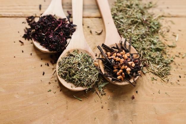 Close-up di cucchiai con foglie di tè