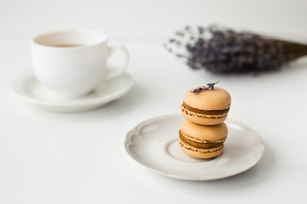 Close-up di macarons con lavanda