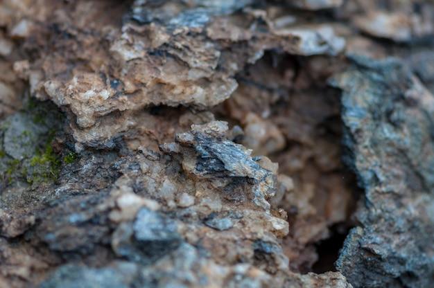 Close-up di rocce, sale e minerali. profondità di campo