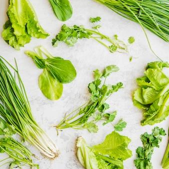 Close-up di verdure fresche verdi su superficie bianca
