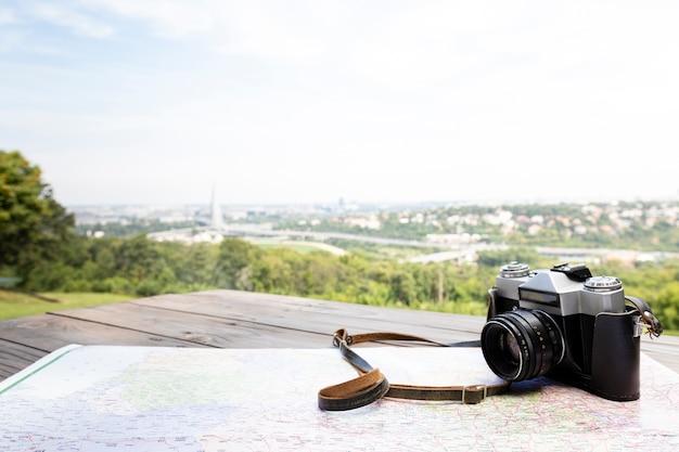Close-up fotocamera con bellissimo sfondo